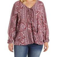 Plus Size Rust Combo Paisley Print Tied Wrap Top by Charlotte Russe