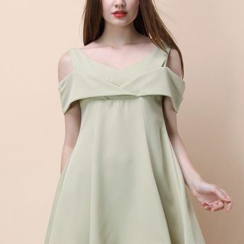 Toast to Elegance Cold-shoulder Dress in Pea Green