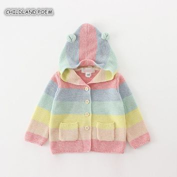 Baby Girl Sweater Autumn Baby Cardigan For Girl Hooded Rainbow Baby Girl Cardigan Coat Toddler Sweaters Baby Girl Winter Clothes