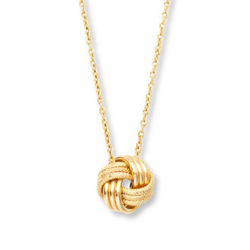 Love Knot Necklace 14K Yellow Gold
