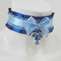 Lolita collar - French beauty -  navy dark and pastel blue - costume cosplay - ddlg princess kitten play petplay choker with crystal pendant