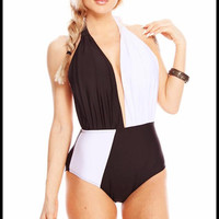 Black & white halter top one piece swimsuit | Royce Clothing
