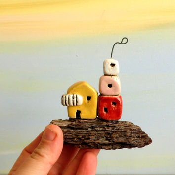 Medeteranian art , ceramic miniature houses on driftwood , clay houses , rustic houses / gift for him / ceramics / ceramic and pottery