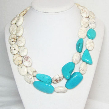 White Turquoise Asymmetrical Statement Necklace OOAK