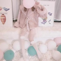 Peach 16 My Dolly Angel Faux Fur Jacket