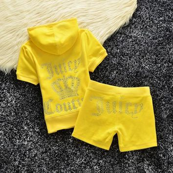 Juicy Couture Studded Logo Crown Velour Tracksuit 608 2pcs Women Suits Yellow