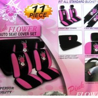 11-Piece Auto Interior Gift Set - 2 Hawaii Aloha Pink Front Low Back Bucket Seat Covers, 2 Hawaii Aloha Pink Head Rest Covers, 1 Hawaii Aloha Pink Steering Wheel Cover, and 2 Hawaii Aloha Pink Shoulder Harness Pressure Relief Covers