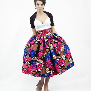 Midi Skirt - Tea Length Skirt,  High Waist Full Skirt, 50's skirt, Floral skirt, Flower print Cotton skirt, Bridesmaid Skirt