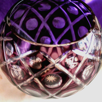 Stunning Vintage Deep Purple Bohemian Cut Crystal Decorative Bowl