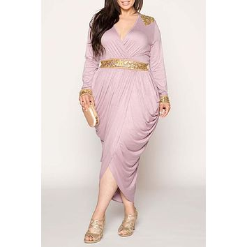 Hourglass Egyptian Harem Wrap Over Embellished Dress