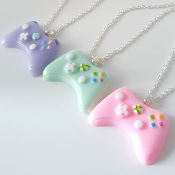 Miniature Necklace Xbox 360 Controller in Pastel color with Silver Plated Linked or Ball Chain 24 inches