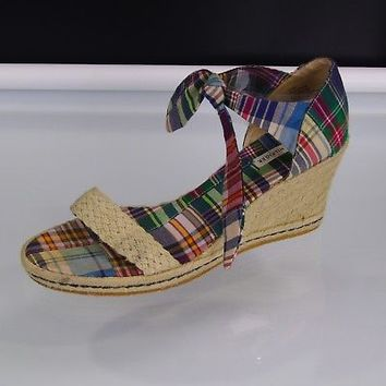 Tommy Hilfiger Espadrilles Madras Plaid Wedge Sandals Ankle Ties Womens Sz 11