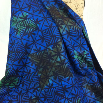 Made in Kenya--African Batik Print Fabric--Dark Blue, Black, Green and Brown with Diamond Print--African Fabric by the HALF YARD