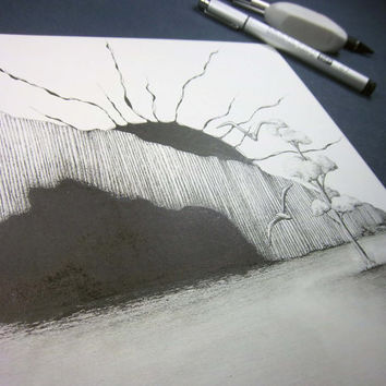 """Original pen and ink drawing, landscape art,  surreal artwork, black and white, surreal art """"The Beach"""""""