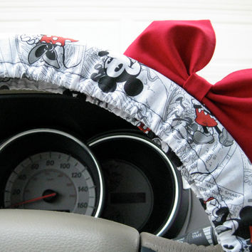 The Original Vintage Mickey Inspired Steering Wheel Cover with Matching Bright Red Bow