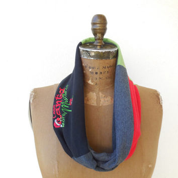 Christmas T Shirt Infinity Scarf / Red Green Black Gray / Recycled / Upcycled / Cotton / Soft / Fun / Winter / For Her / ohzie