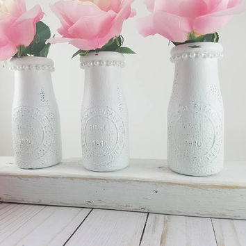 Baby Girl Shower Decor - Bridal Shower Table Decor - Shower Centerpiece - Girl First Birthday Decor - Baby Nursery Decor - White Bud Vase -