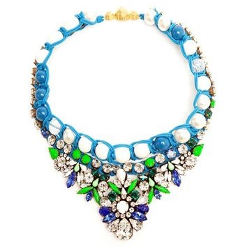JShine Luxurious Statement Necklace Blue Resin Flower Chunky Choker Necklaces for Women Collier Femme Colar Jewelry Bijoux
