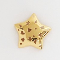 Monet Star Brooch Open Cut Out Stars Moon Hearts Puffy Pin Designer Signed Vintage 1980s 1990s Shiny Gold Tone