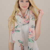 Floral Print Scarf - Taupe