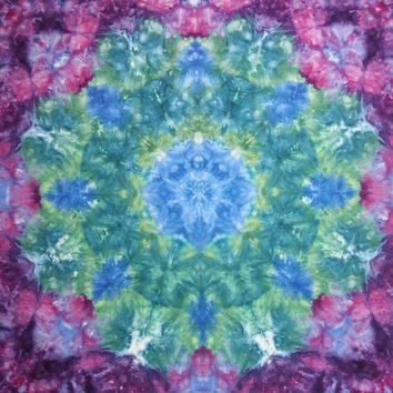 "large psychedelic mandala tie dye tapestry wall hanging purple green 53"" X 58"""
