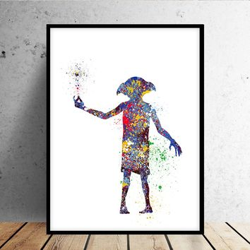 Harry Potter Print, Dobby Watercolor Art, Wizard Nursery Art Print, Kids Bedroom Decor, Wall Art - 65