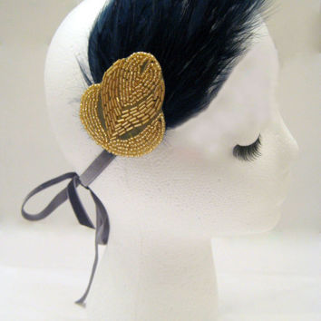 The Pauline - Navy blue 1920s feather fascinator, flapper headdress, feather headpiece, Gatsby party, flapper costume, gold art deco