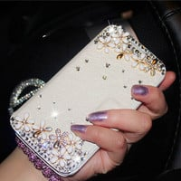 handmade samsung galaxy note 4 note 3 2 wallet galaxy s5 s4 s3 case, rhinestone flowers iphone 6 6 plus iphone 5s case