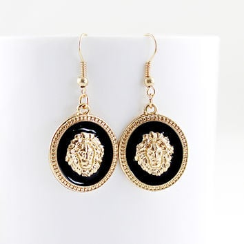 Gold Lion Dangle Earrings - Sheinside.com