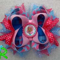 Bubble Guppies Molly Inspired Boutique Layered Hair Bow , Bubble Guppies Molly bow
