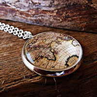 World map necklace - Traveler necklace - Glass dome pendant -  Vintage old map pendant - Adventure necklace - Explore necklace - Map jewelry