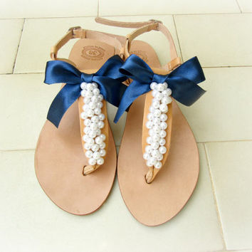 Wedding sandals - Decorated sandals with white pearls and blue navy bow - Greek leather sandals - Bridal party shoes - Beach wedding sandals