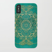 Turquoise & Gold Mandala iPhone Case by Tanyadraws