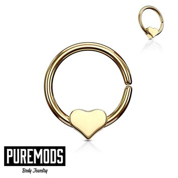 Gold Annealed Cartilage Earring W/ Removable Steel Heart (18G)