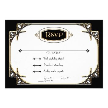Art Deco Great Gatsby Style Typography n Lace Gold Custom Invitations from Zazzle.com