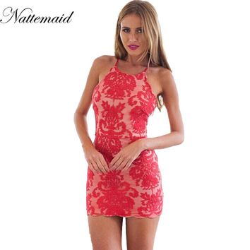 Summer Crossover Strap Women Dresses Elegant Embroidery Stunning Lace Dress