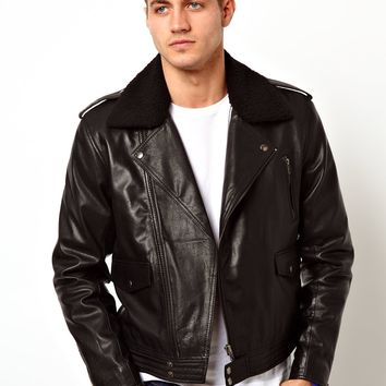 ASOS Leather Biker Jacket With Borg Collar