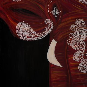 Hand Painted Bohemian Elephant (Red) 24x30 Canvas