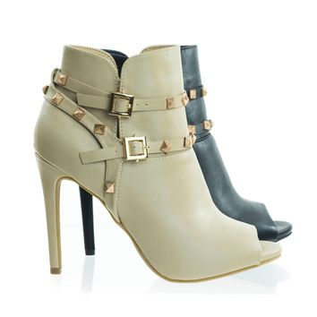 Onelove49 Peep Toe Dress Ankle Bootie w Belted Detail & Pyramid Metal Studs