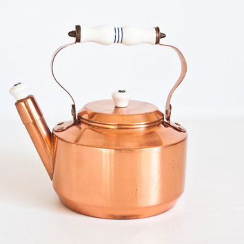 Vintage ODI Solid Copper Kettle, Whistling Teapot Tea Kettle with Ceramic Handle and Whistle, Made in Portugal