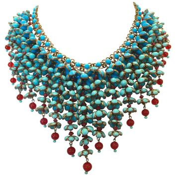 Coco Chanel Gripoix Poured Glass Flower Faux Turquoise and Ruby Necklace