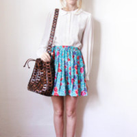 tea and tulips boutique - one of a kind vintage. — spring blossoms skirt