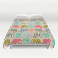 linen baby elephants and flamingos Duvet Cover by Sharon Turner | Society6