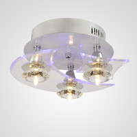 UNITARY BRAND Modern Crystal LED Mini Flush Mount Light Max 60W With 3 Lights Chrome Finish