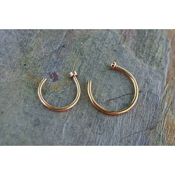 18 Gauge or 20 Gauge Rose Gold Nose Hoop Nose Ring