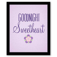 Goodnight Sweetheart, Purple Nursery Art, Nursery Wall Art. Playroom Decor, Children's Art, Girls Room Decor, Baby Gift, INSTANT DOWNLOAD.