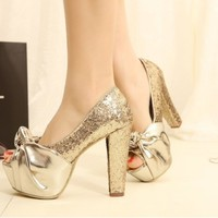 Gold Sequins Fish Head High Heels