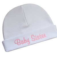 Baby Sister Hat Keepsake Embroidered Little Sister Infant Hat for Baby Girls - Funny Girl Designs (White Hat)