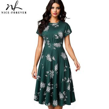 Nice-forever Vintage Elegant Floral Print Pleated Round neck vestidos A-Line Pinup Business Party Women Flare Swing Dress A102