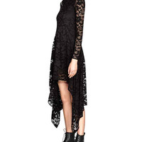 Lace Floral Long Sleeve Asymmetric A-Line Pleated Maxi Dress